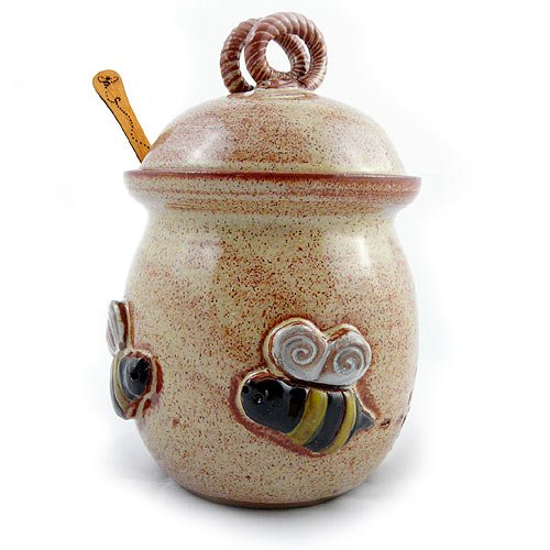 Bee 20-ounce Stoneware Honey Pot Pottery Jar with Cherry Wood Honey Stick, American Made