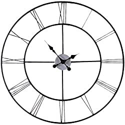 MyEasyShopping Oversized 30-inch Black Wall Clock with Roman Numerals Wall Clock Wood Large Black Quiet Non Ticking Handmade Whisper