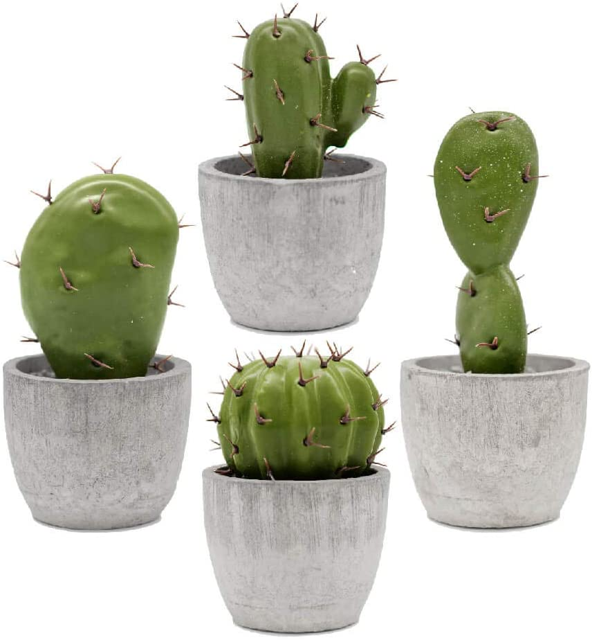 KID2 Artificial Fake Cactus Decor Indoor Small Faux Cactus Succulent Plants in Pots for Home Shelf Office Table Desk House Bedroom Mini Cute Potted Decorations,Set of 4