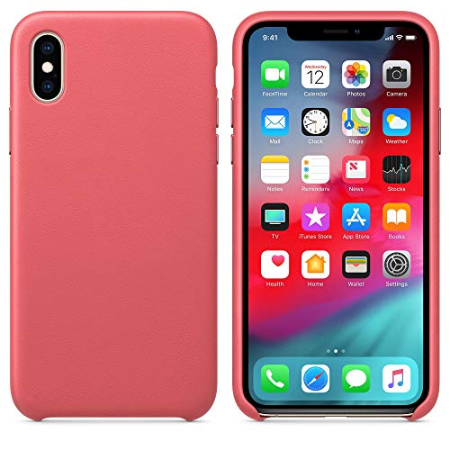 (Starred Original Design Leather Case for Apple iPhone XR Slim Protective Cover [Ultra Thin & Lightweight] (Peony Pink))