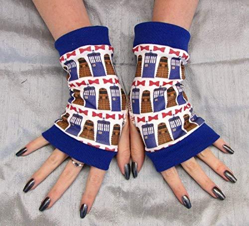Whovian Fingerless Gloves Bow tie Tardis Dalek Eco Friendly -