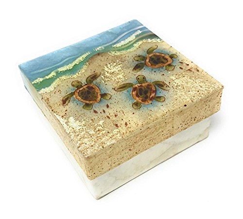 Kubla Crafts Baby Sea Turtles on Beach Capiz Shell Keepsake Box, 4 Inches X 4 Inches
