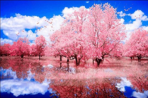 WiHome 5D Diamond Painting Kits for Adults Full Drill Lake of Pink Cherry Blossom Embroidery Rhinestone Painting