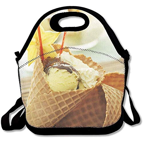 (Ice Cream With Fresh Fruits In A Bowl Close Up Unique Lunch Tote Lunch Bag Office)