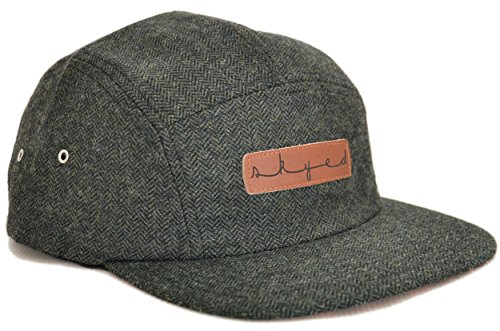 Skyed Apparel Premium 5 Panel Highland Forest Wool Camper Hat with Genuine Leather Strap