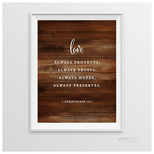 Andaz Press Biblical Wedding Signs, Rustic Wood Print Poster, 8.5-inch x 11-inch, Love Always Protects, Always Trusts, Always Hopes, Always Perseveres, 1 Corinthians 13:7, Bible Scripture Verse Quotes, 1-Pack