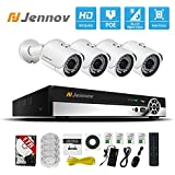 Jennov PoE Security System 4 Channel NVR 1080P Cctv Video Surveillance IP Network Camera HD Night Vision Outdoor Indoor, Power OVer Ethernet, Motion Detection, Pre-installed 1TB Hard Drive