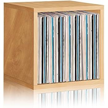 Way Basics Vinyl Record Storage Cube Extra Large Stackable LP Record Album  Shelf, Natural Wood