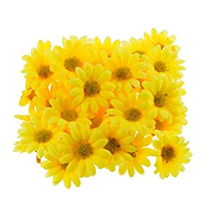 "Funbase 50Pcs 1.5"" DIY Daisy Multi Color Artificial Wedding Head Silk Flower 85"