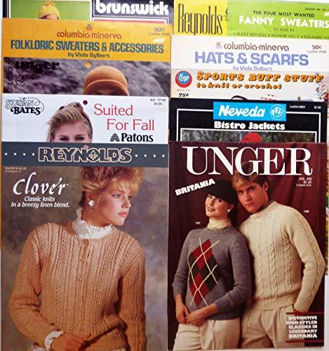 (10 Various Knitting Pattern Booklets - Patons / Columbia-Minerva / Unger / Reynolds / Boye / Neveda / Brunswick - Men's / Women's / Children's)