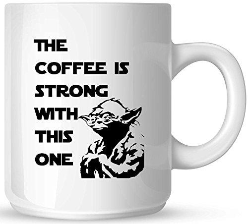 Star Wars - The Coffee is Strong with this One - 11oz Ceramic Coffee Mug - White Mug - Black One-Sided Print - Gloss Finish (Mug Sided Coffee)