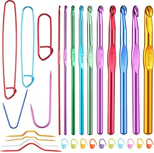 10 Sizes Aluminum Crochet Hooks and 9 Pieces Cable Stitch Holders Mixed Color Aluminum Cable Needles Stitch Holders with 10 Pieces Knitting Crochet Locking Stitch Markers for Knitting Tools