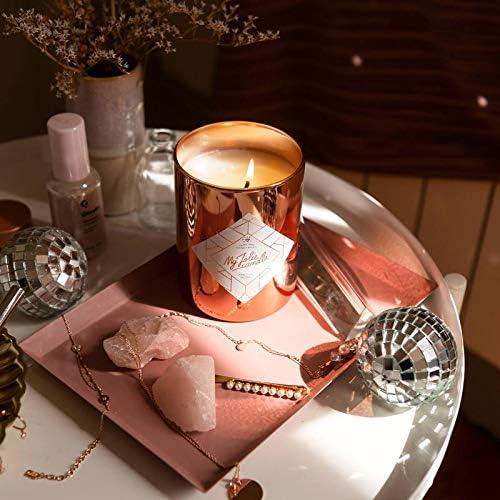 Chapado de Oro Rosa Collare MY JOLIE CANDLE Cera Natural Vela perfumada con una Joya Sorpresa en su Interior Rose Gold Edition 330g Tiempo de combusti/ón : 70 Horas