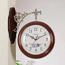 Two-sided wall clock,[modern] Simple Two-sided clocks Art living room clock Mute wall wall-B