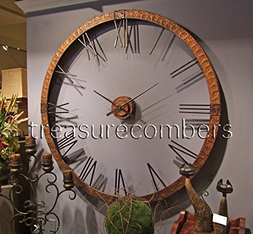 Extra Large Copper Open Wall Clock Designer Openwork XL - Measures: 60 w x 60 h x 4 d (in) Finish: copper, gray wash, aged black Material: hammered copper sheeting - wall-clocks, living-room-decor, living-room - 51iSHDeQ6cL -