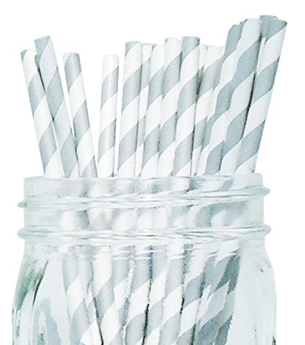 [Just Artifacts - Decorative Paper Straws 100pcs - Striped Pattern - Grey - Click For More Colors! Paper Straws and Décor for Birthdays, Weddings, Baby Showers and Life] (Blue Drinking Hat)