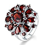 XBKPLO Rings for Women Pomegranate Ruby Diamond Wedding Accessories Jewelry Gift Size 6-10 (10)