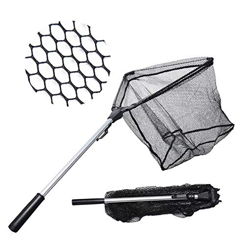 roved Fishing Net Safe Catch & Release Fish Landing Net, Foldable, Telescoping – Durable, Strong Yet Light Weight ()