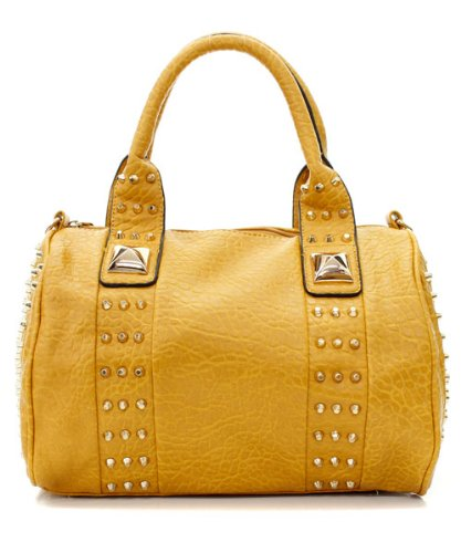 Small Studded Faux Leather Satchel Handbag with Shoulder Strap (Tan), Bags Central