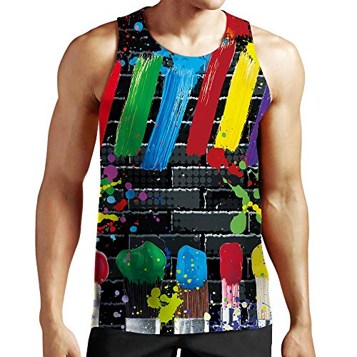 Idgreatim 90s Mens Funny Tank Tops Colorful Paint Printed Workout Gym Sleeveless T Shirts Tops Tees for Gay Pride S