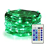 ER CHEN Green Fairy Lights Plug In, 33ft 100 LED Starry String Lights Dimmable with Remote Control, Waterproof Copper Wire Christmas Decorative Lights for Bedroom, Patio, Garden, Yard, Party
