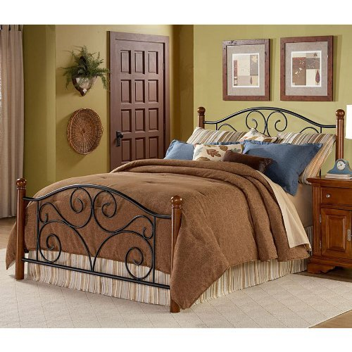 Fashion Bed Group 5/0 MB/W HB GRL Doral Headboard with Dark Walnut Wood Posts and Metal Grill, Matte Black Finish, Queen,