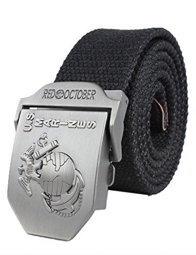 Menschwear Men's Adjustable Canvas Belt Metal Buckle Military Style W44 120CM Black