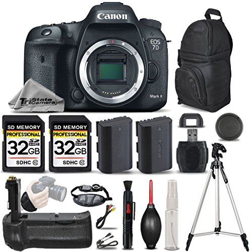 Canon EOS 7D Mark II Digital SLR Camera Body Full HD 1080p + Battery Grip + Backup Battery + 2 Of 32GB Memory Card. All Original Accessories Included - International Version
