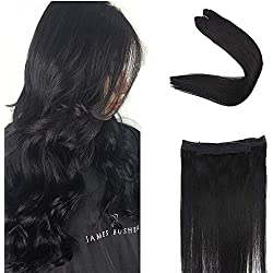 """Full Shine 14"""" Color #1 Jet Black Flip Extensions Real Remy Human Hair Extension Straight Hair 70 Grams Per Piece Fish Line Human Hair Extensions Invisible Wire Hair"""