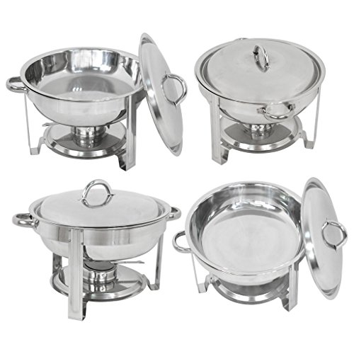 ZENY Pack of 4 Round Chafing Dish Full Size 5 Quart Stainless Steel Deep Pans Chafer Dish Set Buffet Catering Party Events Warmer Serving Set Utensils w Fuel Holder