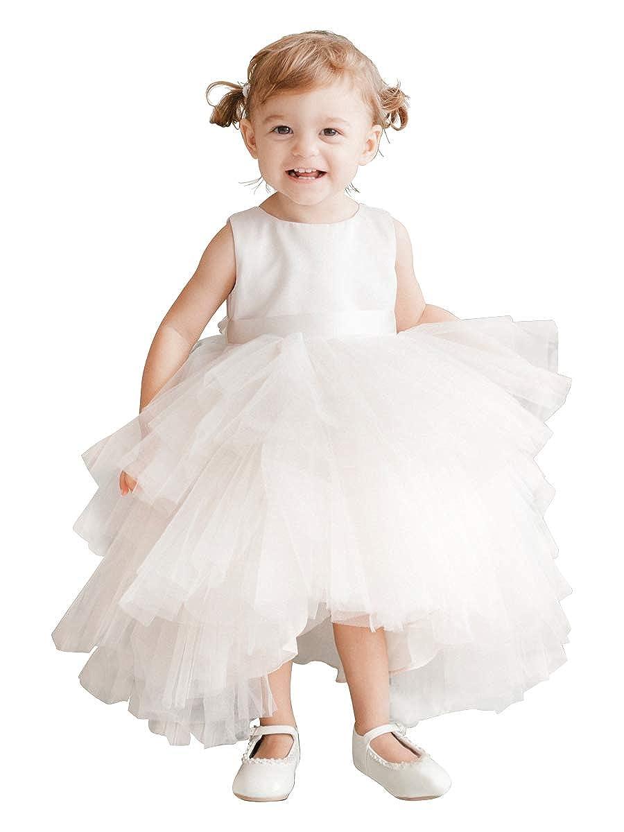 82a3fda6ed1f Amazon.com: Tip Top Kids Big Girls Aqua Satin Tutu Hi-Low V-Back Tape Sash  Junior Bridesmaid Dress 8-16: Clothing