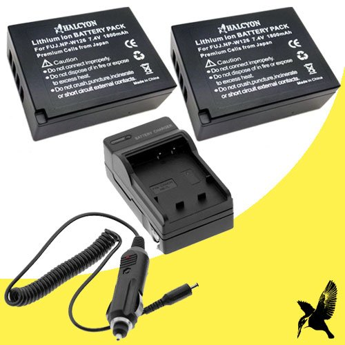 two-halcyon-1800-mah-lithium-ion-replacement-battery-and-charger-kit-for-fujifilm-np-w126-and-fujifi