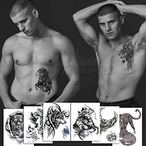 6 Black Large Temporary Tattoos (+2 Small Tattoos) - Owl, Tiger, Cheetah, Wolf, Centaur, Woman Angel - Tattoos for Arms Legs Shoulder or Back