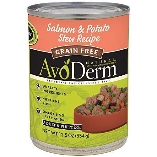 AvoDerm Natural Grain Free Stew Adult Dog Food, Salmon and Potato, 12.5-Ounce Can by AvoDerm