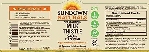 - Sundown Naturals Standardized Milk Thistle 240 mg, 180 Capsules (3 X 60 Count Bottles)