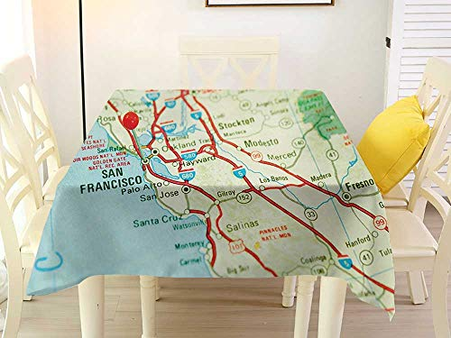 L'sWOW Square Tablecloth Stain Resistant Map Vintage Map