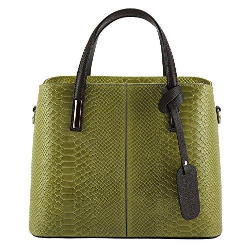 Italian Vanessa Handbag in printed leather - 7005 - Leather bags (Light green) - Italian Patent Leather Handbag Purse
