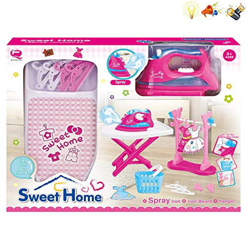 sweethome Ironing Board Set & Play Iron with Light, Sound and Realistic Steam Spray. Bonus: Hangers, Laundry Basket & Cloths Stand
