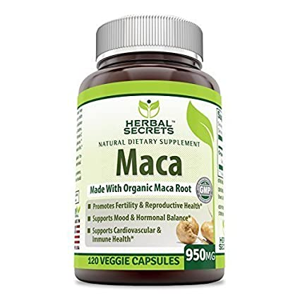 Herbal Secrets Organic Maca 950mg 120 VCAPS - Gelatinized for Enhanced Bioavailability - GMO FREE-