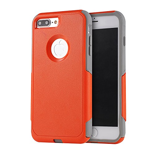 Kecko Dual Layer Tough High Impact Resistant Commuter Series Rugged Hybrid Armor Military Grade Armor Hard Silicone + PC Durable Shockproof Case Cover for Apple iPhone 7 Plus / 7s Plus (Orange Gray)