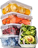 Prep Naturals Glass Meal Prep Containers - Food Prep Containers with Lids Meal Prep - Food Storage Containers Airtight - Lunch Containers Portion Control Containers - BPA Free Container [5-Pack,30oz]
