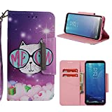Leather Wallet Case for Samsung Galaxy S8,Shinyzone Cute Cartoon Animal Cat Painted Pattern Flip Stand Case,Wristlet & Metal Magnetic Closure Protective Cover