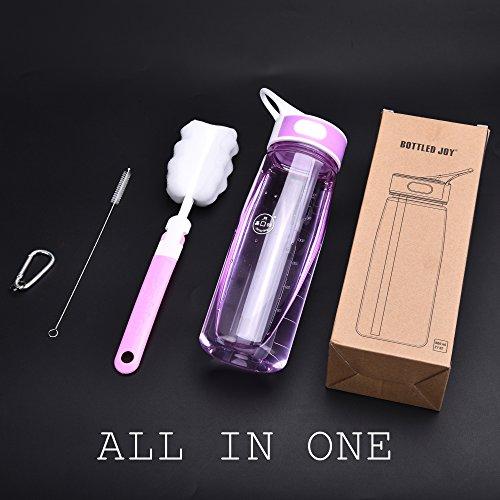 BPA-Free Tritan Sport water bottle, BOTTLED JOY Wide Mouth 27oz 800ml Spill Proof Sip & Handle Leak Proof bottles Purple