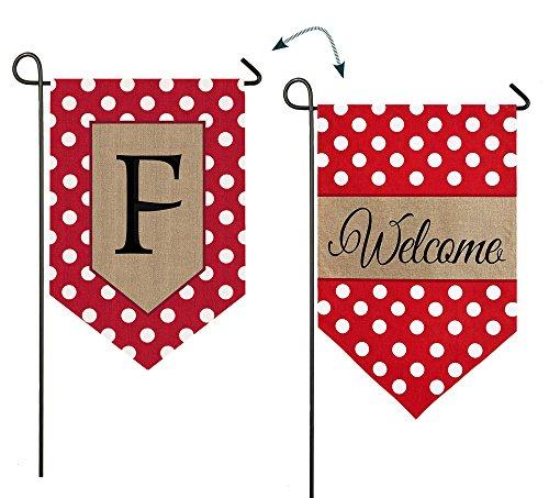 - Evergreen Enterprises 14B3477FFB Polka-Dot Welcome Monogram Letter F Garden Flag
