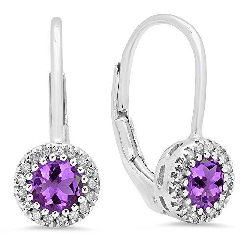 10K White Gold Round Amethyst & White Diamond Ladies Halo Style Dangling Drop Earrings