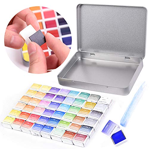 45 Assorted Watercolor Paint Travel Set - Half Pan Refills Solid Pigment Magnetic Stripe with Metal Box Case, Water Color Paint Kit for Artists Beginners DIY Watercolor Paintings, Coloring, Drawing (Paint Set Refill)