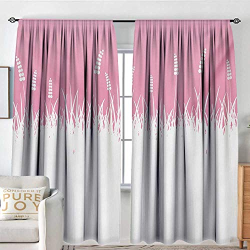 Blackout Curtains for Bedroom Pink,Field Farm Life Inspired Scene Cut into Half with Bushes and Wheat Art Print,Hot Pink and White,Darkening and Thermal Insulating Draperies - Light Wheat 4 Chandelier