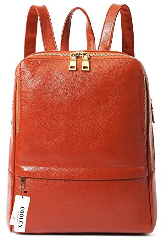 Coolcy Hot Style Women Real Genuine Leather Backpack Fashion Bag (Dark ()