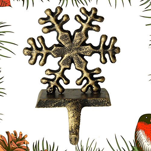 Fannybuy Christmas Stocking Holder Hangers Metal for Mantle Fireplace Free Standing Christmas Decorations Indoors Deer Snowman Sata Snowflake Decorations (snowflake)