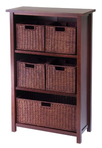 Winsome Wood Milan Wood 4 Tier Open Cabinet in Antique Walnut Finish and 5 Rattan Baskets; 1 Large and 4 Small in Espresso Finish